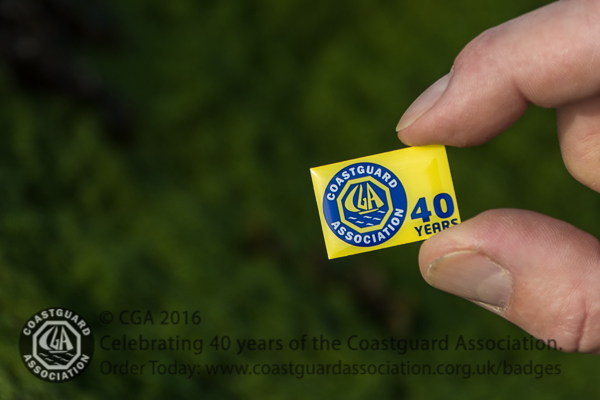 Limited edition 40 years of the CGA badge. Available from www.coastguardassociation.org.uk/badges